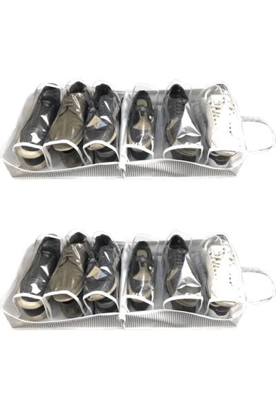 ALAS 2 Adet Seyahat Tipi Ayakkabı Hurcu Ayakkabı Saklama Çantası 35 x 22 x 40 cm Gri