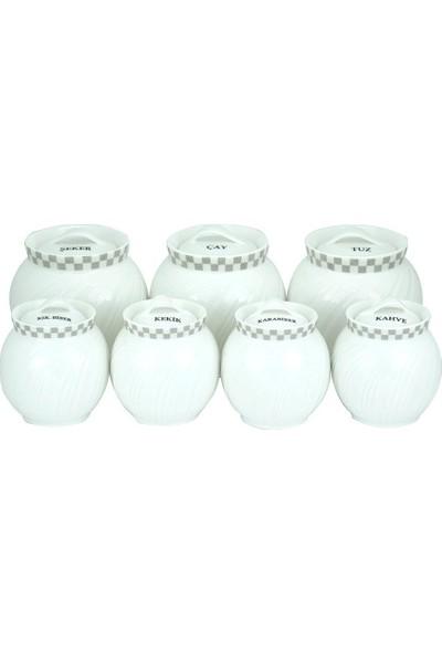 Karaca 7 Parça Charming Porselen Baharat Seti Beyaz