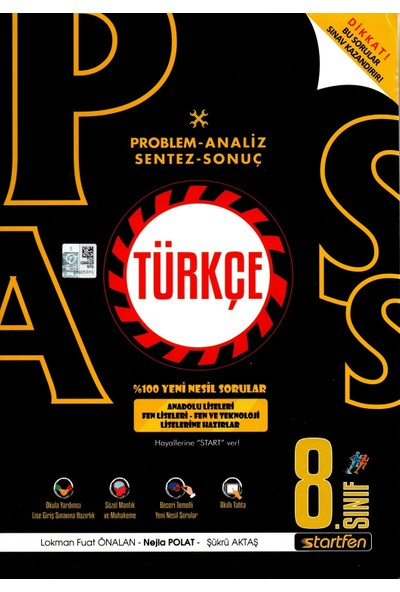 Startfen Yayınları Pass 8. Sınıf Türkçe Yeni Nesil Soru Bankası