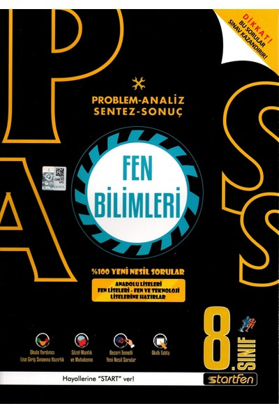 Startfen Yayınları Pass 8. Sınıf Fen Bilimleri Yeni Nesil Soru Bankası