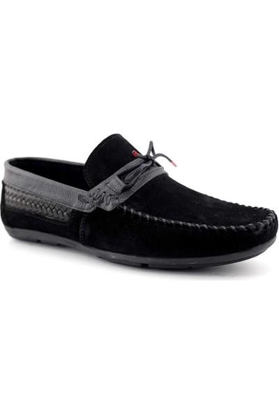 Tkn 070 Deri Erkek Casual Ayakkabı-Siyah Süet