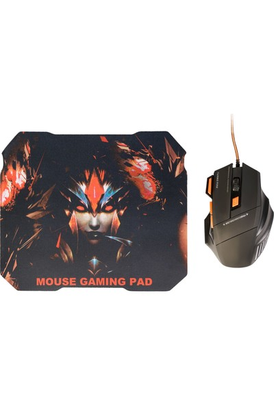 MF Product Strike 0119 Kablolu Rgb Gaming Mouse + Mouse Pad Turuncu