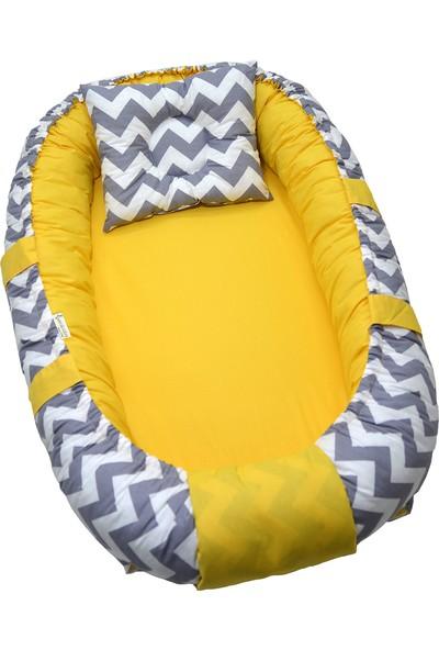 Berababy Babynest Gri Zigzag ve Sarı Kombin Bebek Yuvası