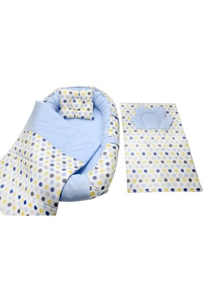 Berababy Babynest Alt Açma Minderli Puantiye Model Bebek Yuvası 4 Parça Set