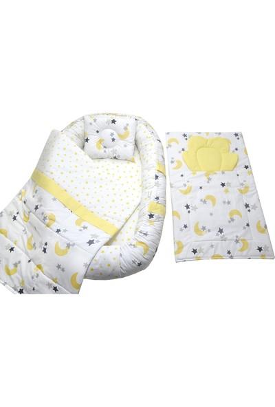 Berababy Babynest Alt Açma Minderli Sarı Ay Model Bebek Yuvası 4 Parça Set