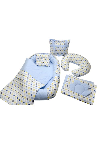 Berababy Babynest Emzirme Yastıklı Renkli Puantiye Model Bebek Yuvası 6 Parça Set