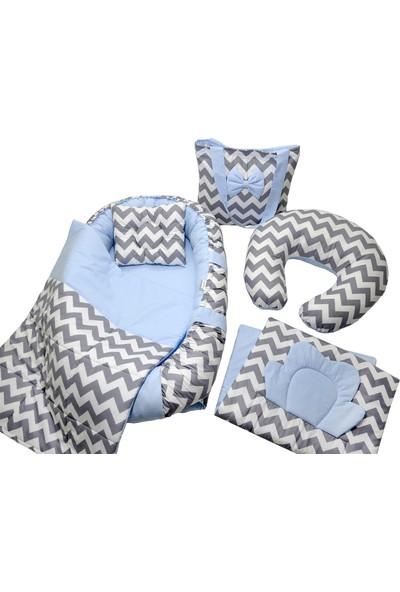 Berababy Babynest Emzirme Yastıklı Gri ve Mavi Tasarım Bebek Yuvası 6 Parça Set