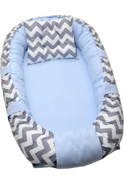 Berababy Babynest Gri Zigzag ve Mavi Tasarım Bebek Yuvası
