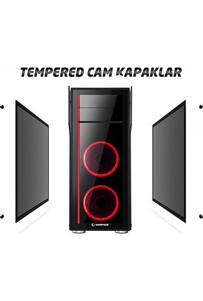 Rampage Thunder Pro 2xRGB Fan Temperli Cam mATX Bilgisayar Kasası