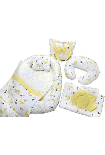 Berababy Babynest Emzirme Yastıklı Sarı Ay Model Bebek Yuvası 6 Parça Set