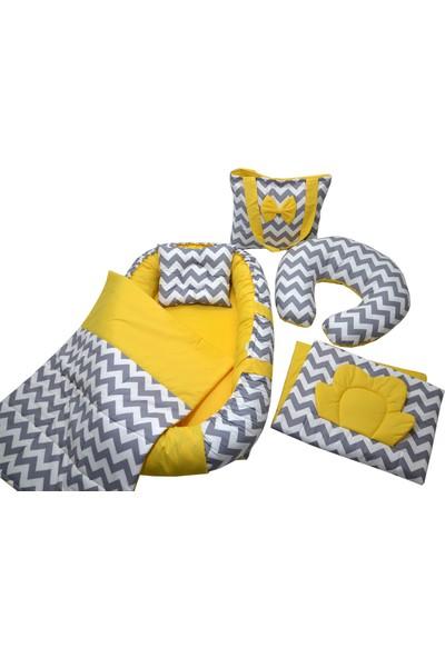 Berababy Babynest Emzirme Yastıklı Gri ve Sarı Tasarım Bebek Yuvası 6 Parça Set