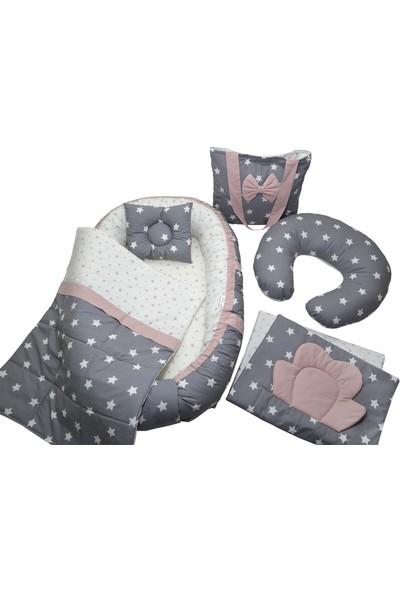 Berababy Babynest Emzirme Yastıklı Gri ve Pudra Tasarım Bebek Yuvası 6 Parça Set