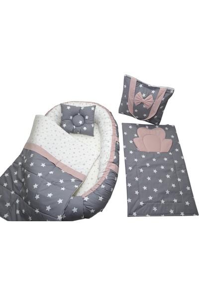 Berababy Babynest Çantalı Gri ve Pudra Tasarım Bebek Yuvası 5 Parça Set