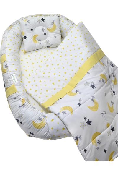 Berababy Babynest Pikeli Sarı Ay Model Bebek Yuvası 3 Parça Set