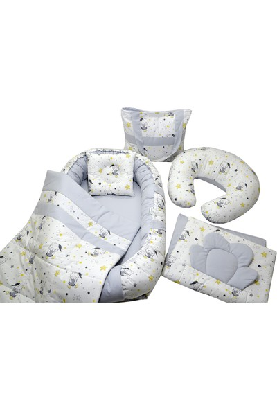 Berababy Babynest Emzirme Yastıklı Gri Ayıcık Model Bebek Yuvası 6 Parça Set