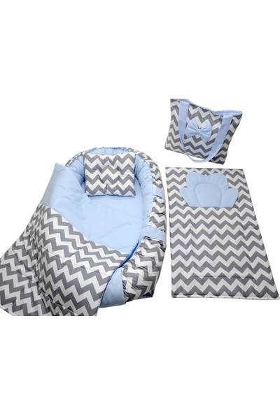 Berababy Babynest Çantalı Gri ve Mavi Tasarım Bebek Yuvası 5 Parça Set