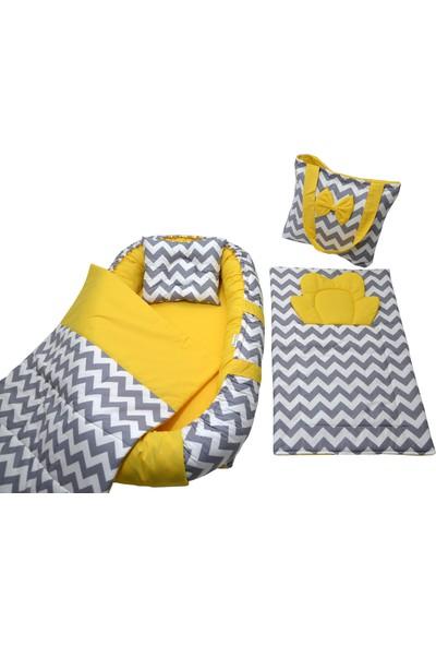 Berababy Babynest Çantalı Gri ve Sarı Model Bebek Yuvası 5 Parça Set