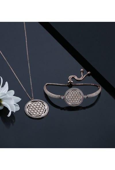 Tubiss Takı Yaşam Çiçeği Çerçeve Gümüş Kolye Bileklik Kombin