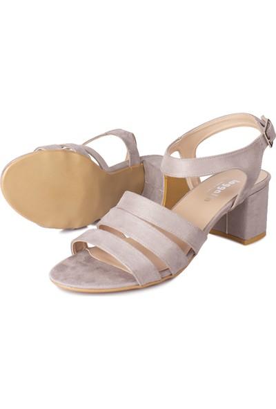 Loggalin 111141 515 Kadın Gri Süet Topuklu Sandalet