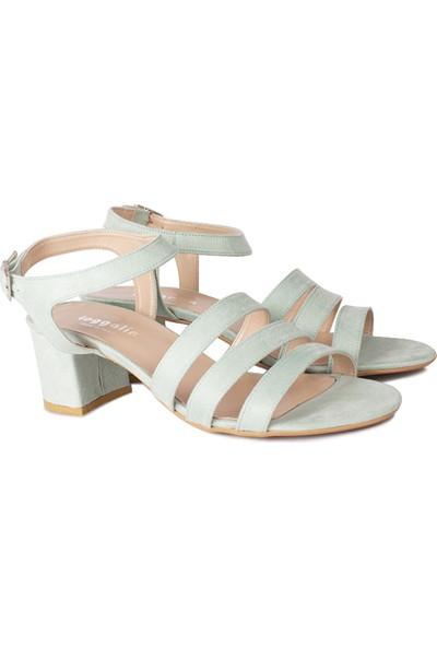Loggalin 111141 673 Kadın Yeşil Süet Topuklu Sandalet
