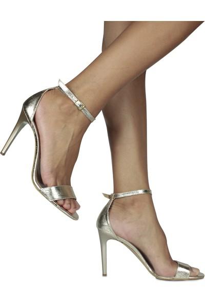 Loggalin 520003 721 Kadın Gold Topuklu Sandalet