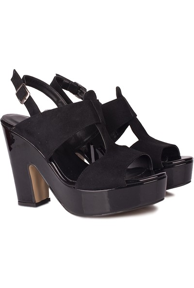Loggalin 521905 025 Kadın Siyah Platform Sandalet