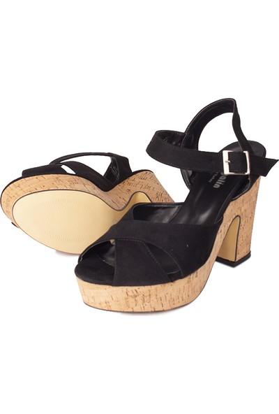 Loggalin 521910 008 Kadın Siyah Süet Platform Sandalet