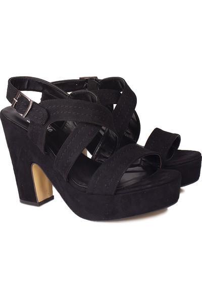 Loggalin 521912 008 Kadın Siyah Süet Platform Sandalet