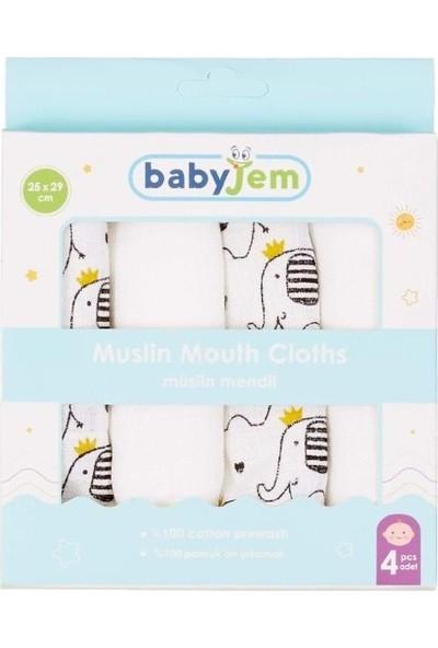 Baby Jem Müslin Mendil 4 Adet Fil Desen
