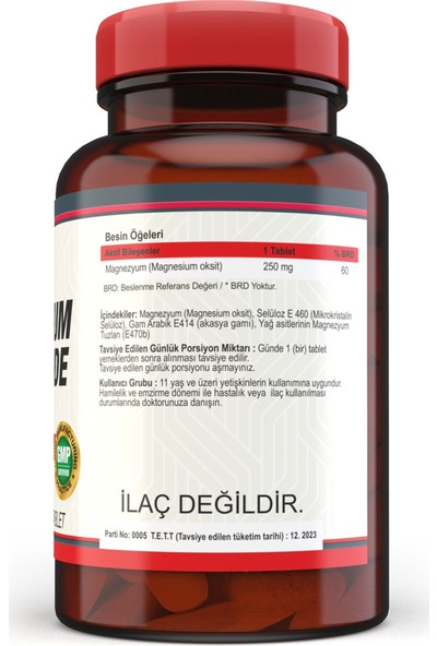 Nevfix Magnesium Oxide Magnezyum 250 mg 120 Tablet x 3 Kutu 360 Tablet