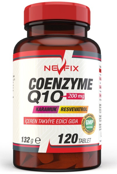Nevfix Coenzyme Q10 200 mg Koenzim Q10 120 Tablet x 2 Kutu 240 Tablet