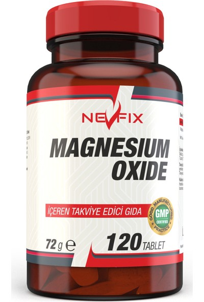 Nevfix Magnesium Oxide Magnezyum 250 mg 120 Tablet x 2 Kutu 240 Tablet