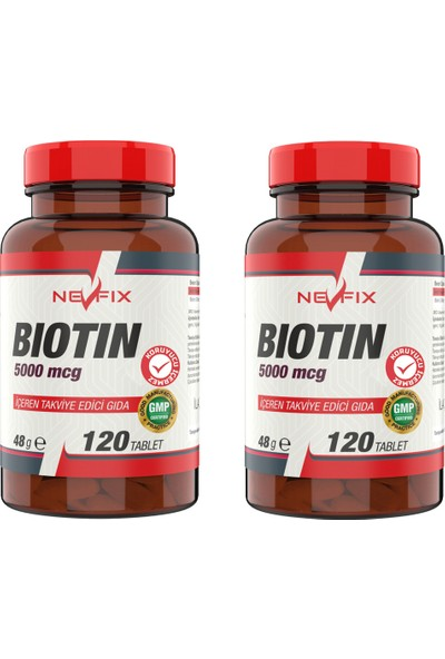 Nevfix Biotin 5000 Mcg 120 Tablet x 2 Kutu 240 Tablet
