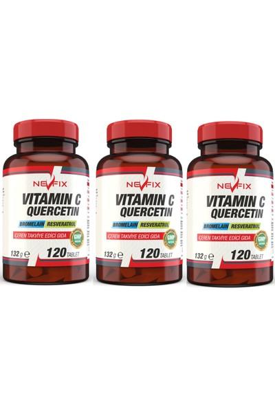 Nevfix Vitamin C Bromelian Quercetin 120 Tablet x 3 Kutu 360 Tablet