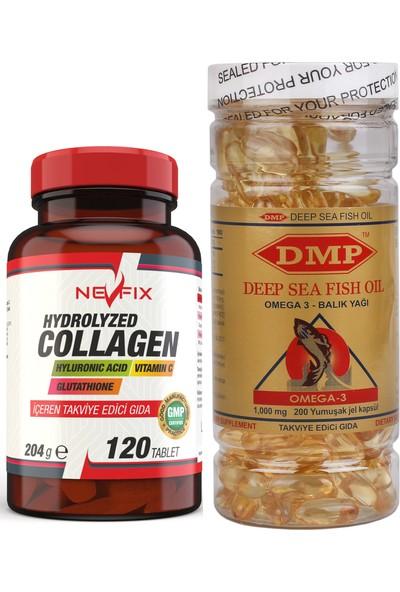 Nevfix Collagen Kolajen 120 Tablet Dmp Omega 3 Balık Yağı 200 Capsül