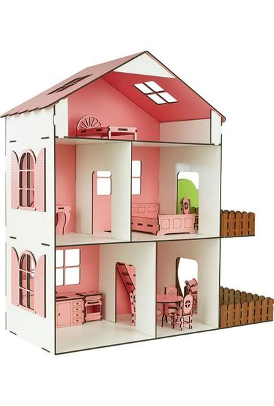İntergo Ahşap Mobilyalı Oyuncak Oyun Evi