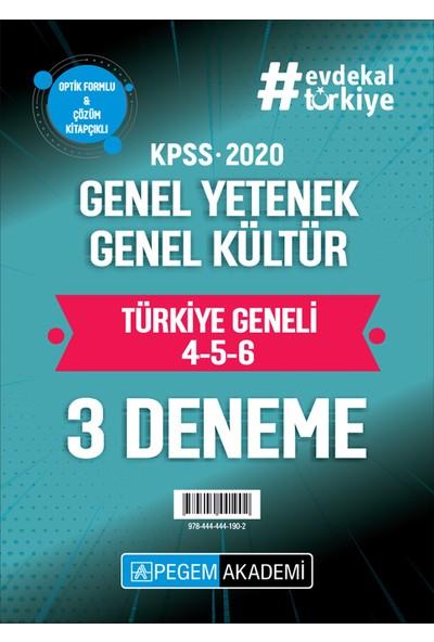 Pegem Akademi 2020 KPSS Genel Yetenek Genel Kültür Türkiye Geneli Deneme (4.5.6) 3`lü Deneme Seti (TG2020)