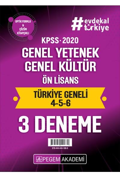 Pegem Akademi 2020 KPSS Genel Yetenek Genel Kültür Ön Lisans Türkiye Geneli Deneme (4.5.6) 3`lü Deneme Seti