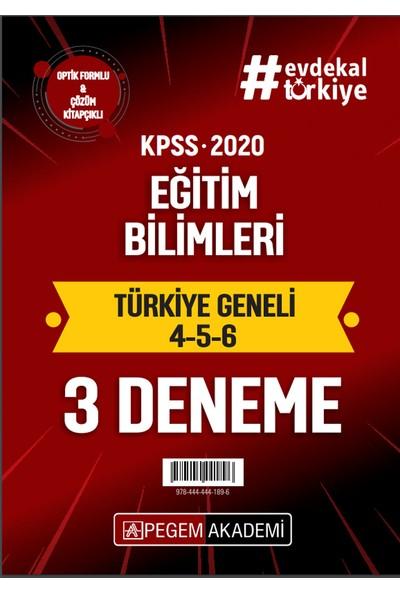 Pegem Akademi 2020 KPSS Eğitim Bilimleri Türkiye Geneli Deneme (4.5.6) 3`lü Deneme Seti