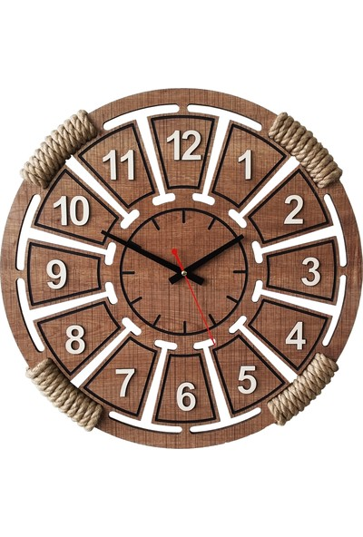 D&a Halatlı Dekoratif Ahşap Mdf Duvar Saati 50 cm Sümela