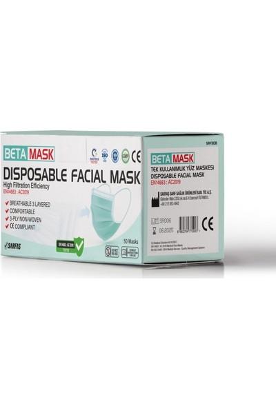 BetaMask Full Ultrasonik, Telli, Antibakteriyel Kumaşlı, 3 Katlı Beyaz Maske, 50 Adet