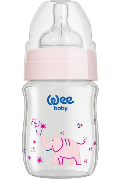Wee Baby Klasik Plus 120 Ml Geniş Ağızlı Isıya Dayanıklı Cam Biberon - Pembe
