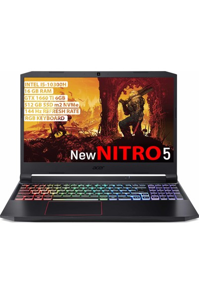 "Acer Nitro 5 Intel Core i5 10300H 16GB 512GB SSD GTX1660Ti Freedos 15.6"" FHD Taşınabilir Bilgisayar NH.Q7PEY.001"