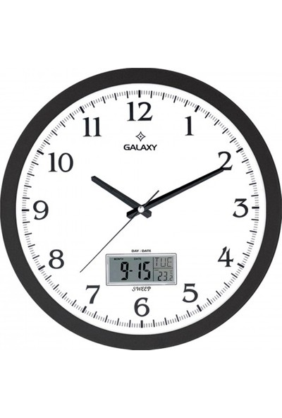İş Saat Takvimli Termometreli Higometreli Modern Duvar Saati
