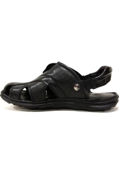 Faruk Karar 2007 Siyah Ucu Kapalı Deri Erkek Sandalet