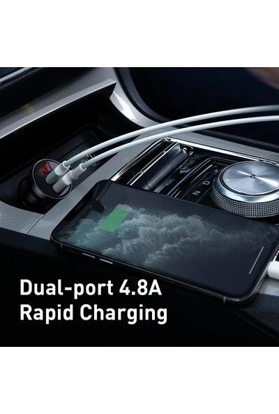 Baseus Çift USB Göstergeli 4.8A Araç Şarj Cihazı 3in1 Kablo 1.2 mt Tzccbx-0g