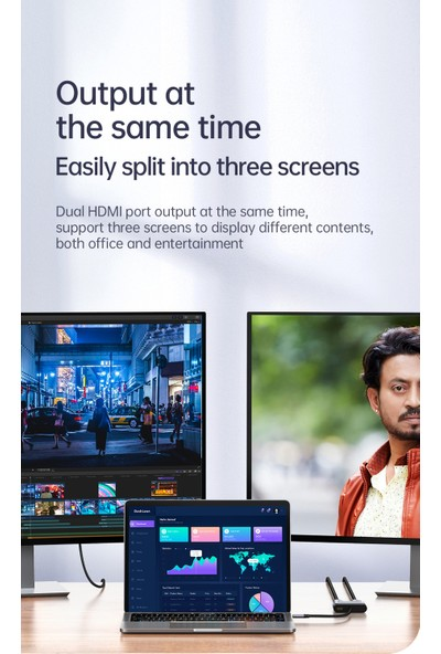Mcdodo 3 In 1 Type C To 2x HDMI Çevirici Adaptör HU-7390