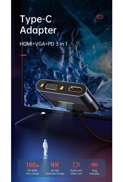 Mcdodo 3 In 1 Type C To 4K HDMI VGA Çevirici Adaptör HU-7720