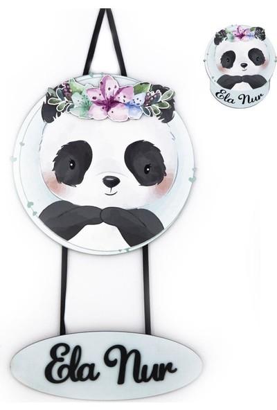 Meşgalem Kişiye Özel 3D Bebek Ahşap Kapı Süsü Panda 30 x 30 cm