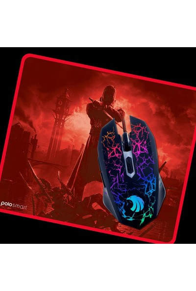 Polosmart PGM02 Mouse + Mouse Pad Kırmızı